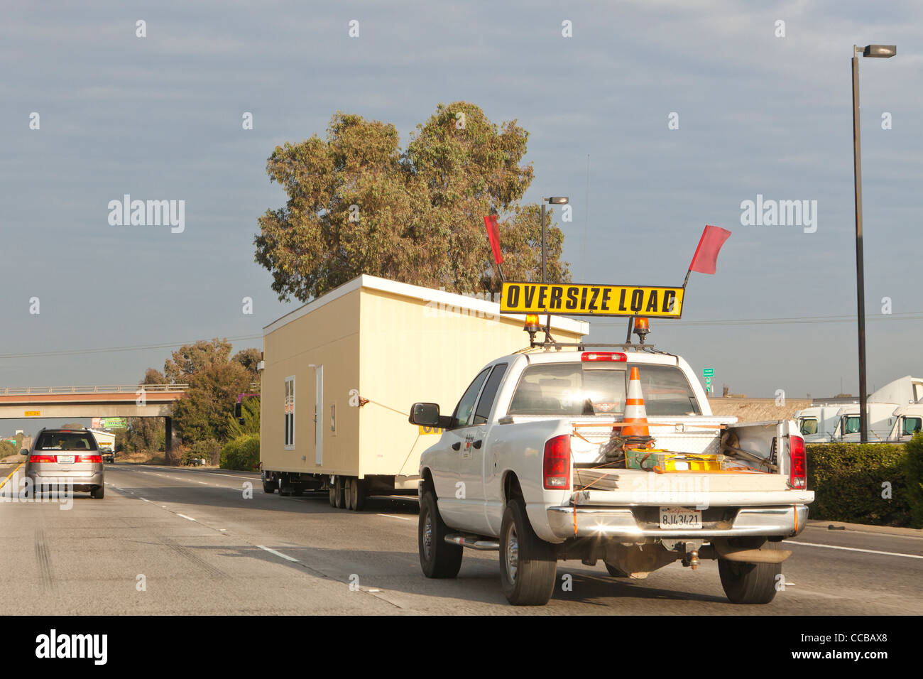 An oversize load on highway - Stock Image