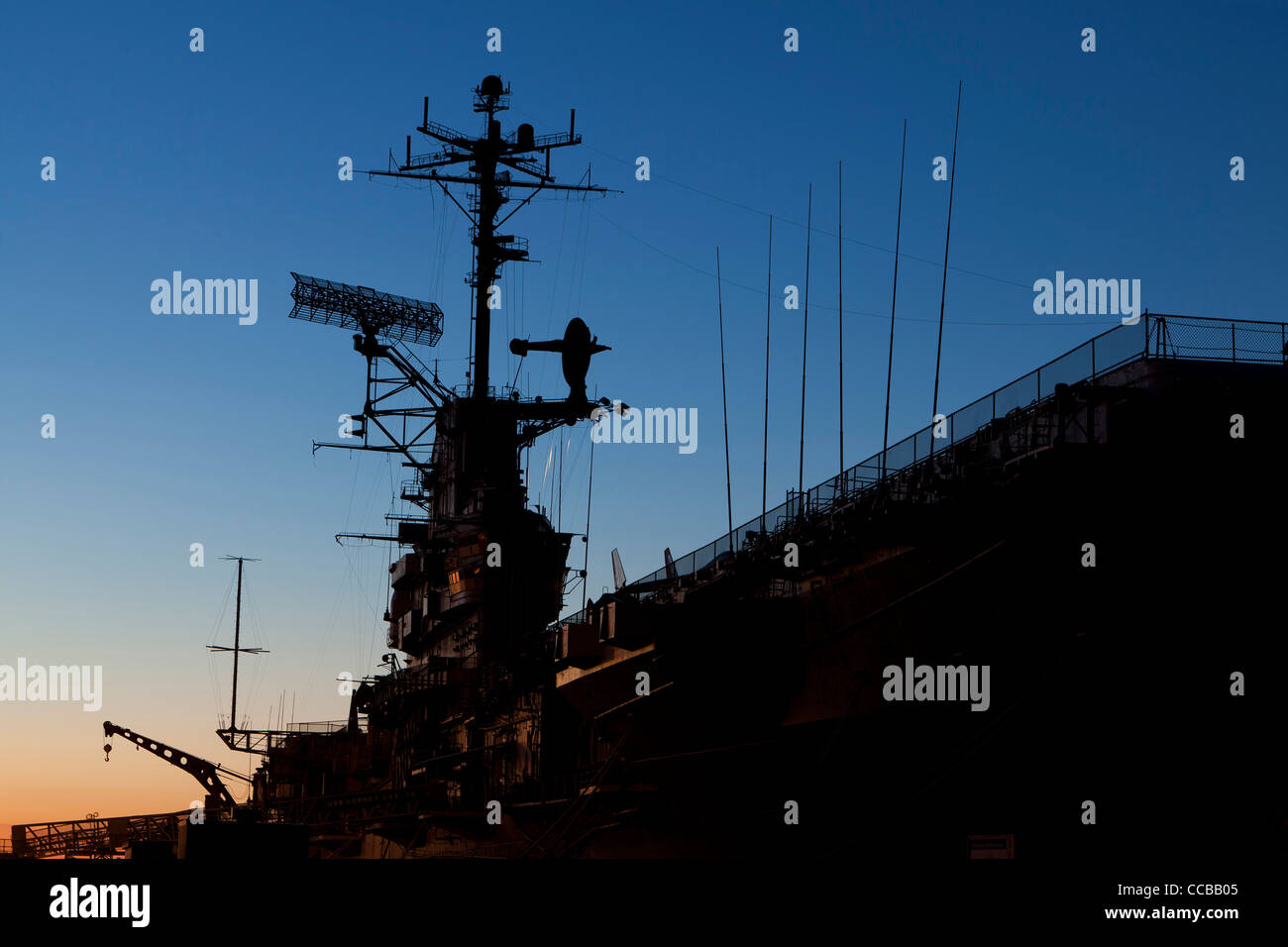 USS Hornet US Navy Essex-class aircraft carrier - Alameda, California USA - Stock Image