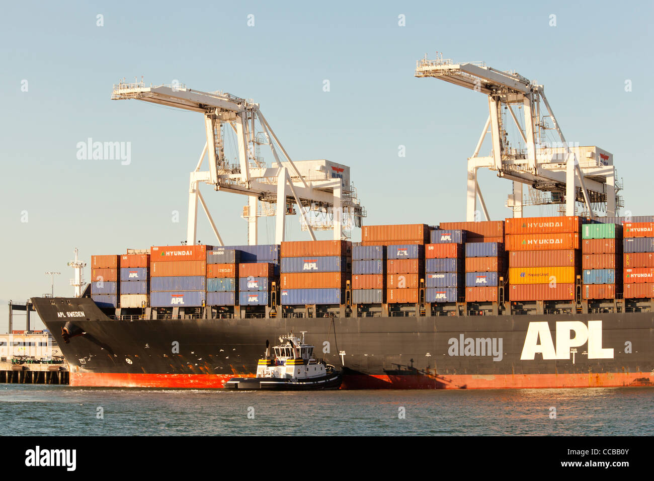 Gantry cranes ready to unload cargo containers from APL ship at Port of Oakland - Stock Image
