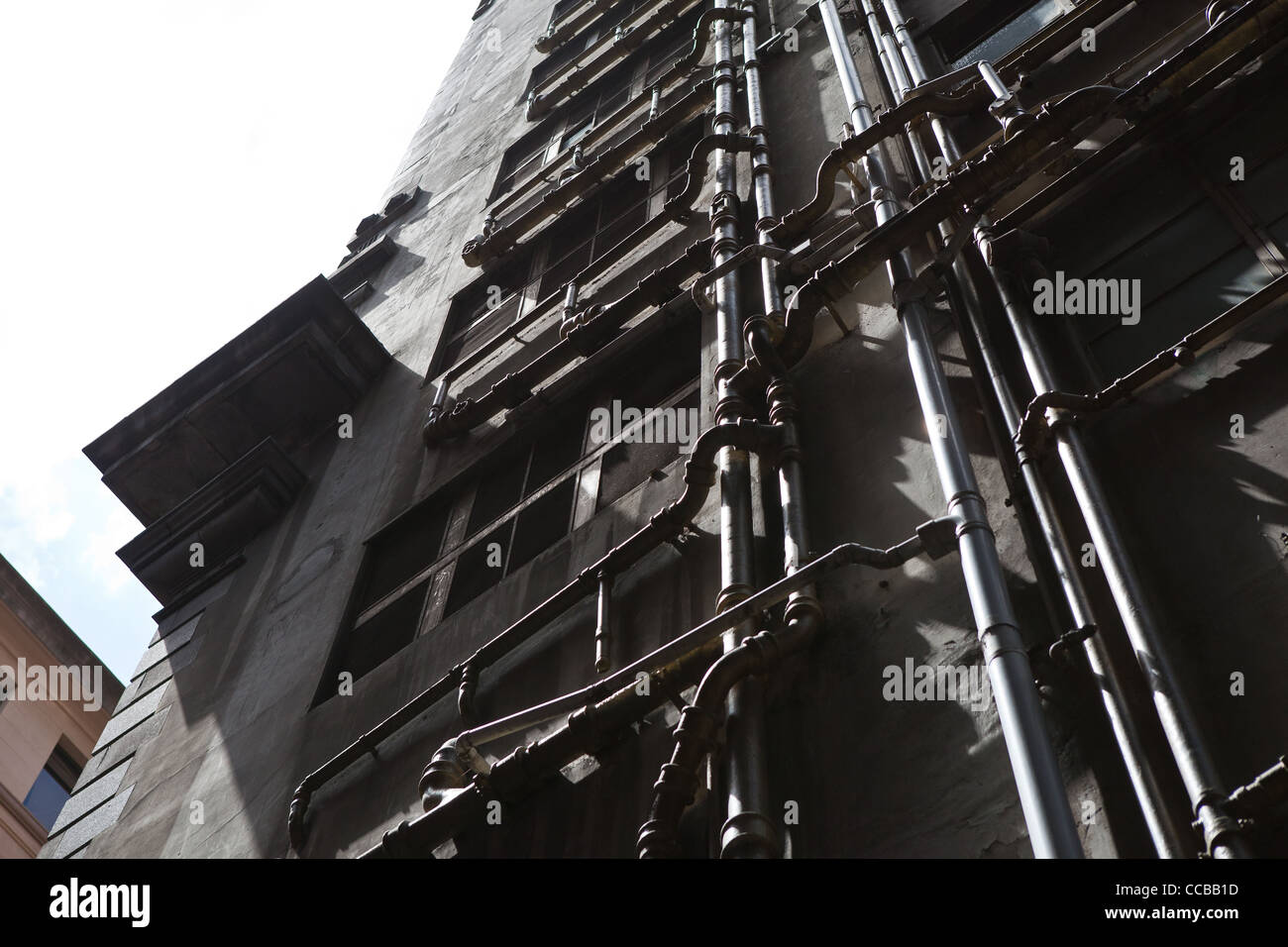 Industrial Pipes in Melbourne city buildings building - Stock Image