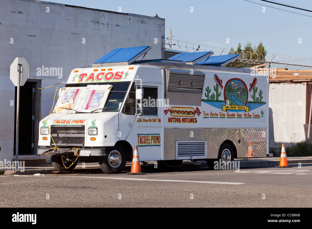 Mexican food catering  truck - USA - Stock Image