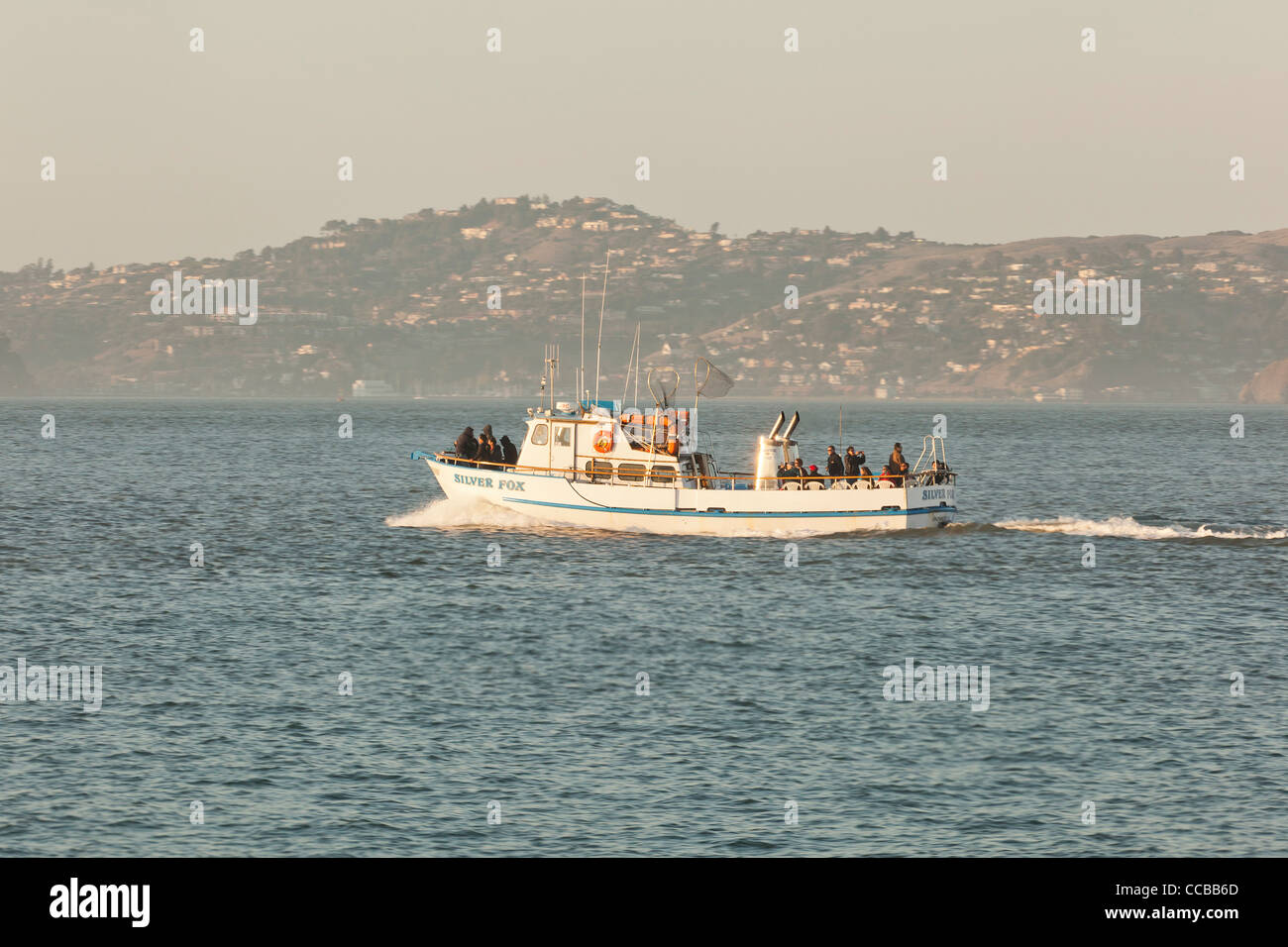 A charter fishing boat leaving for deep water - Stock Image