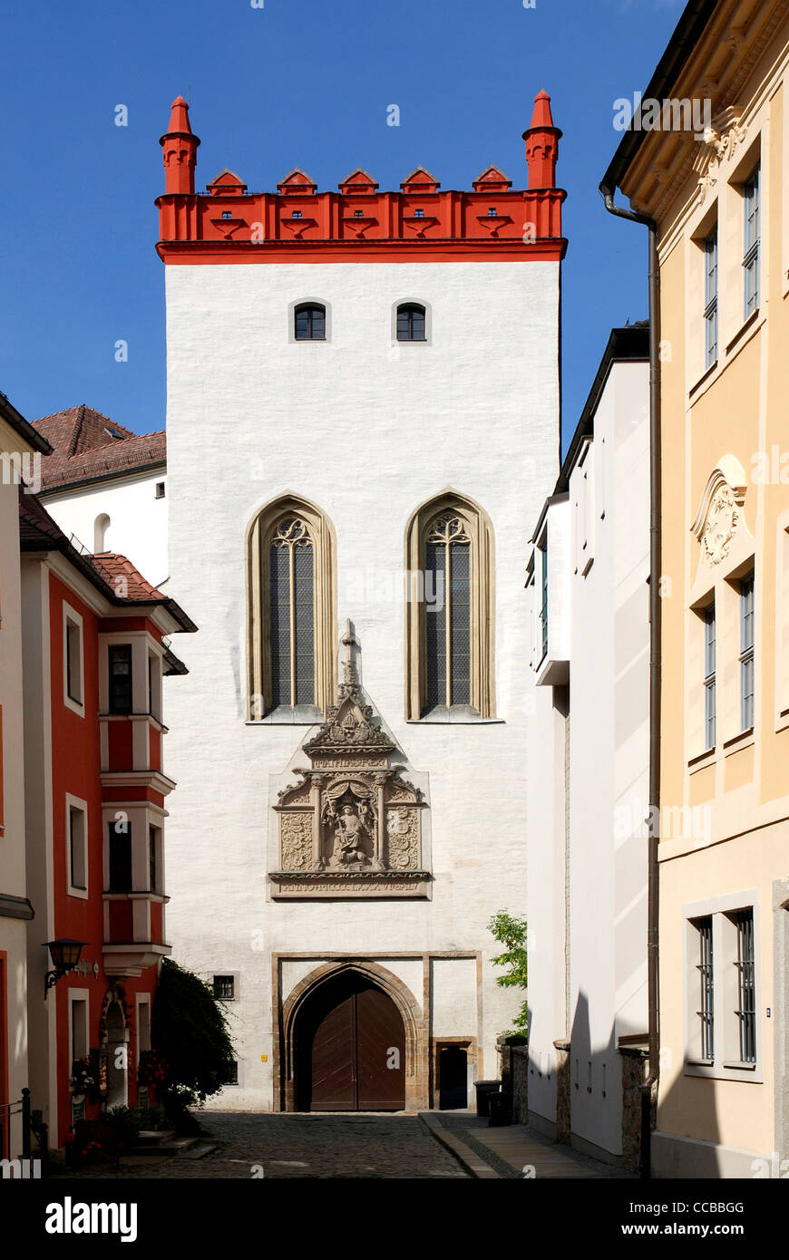 Tower Matthiasturm is the main entrance to castle Ortenburg in Bautzen. - Stock Image