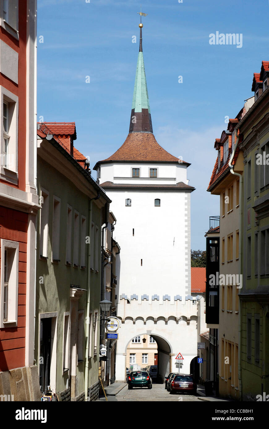 Tower Schuelerturm with the gate Schuelertor in the historical old town of Bautzen. - Stock Image