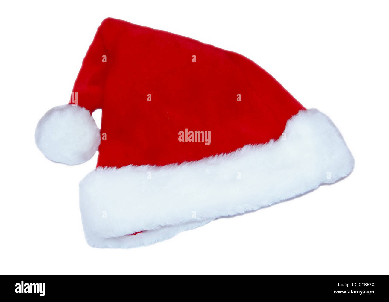 Red and white Santa Clause hat isolated on white background - Stock Image