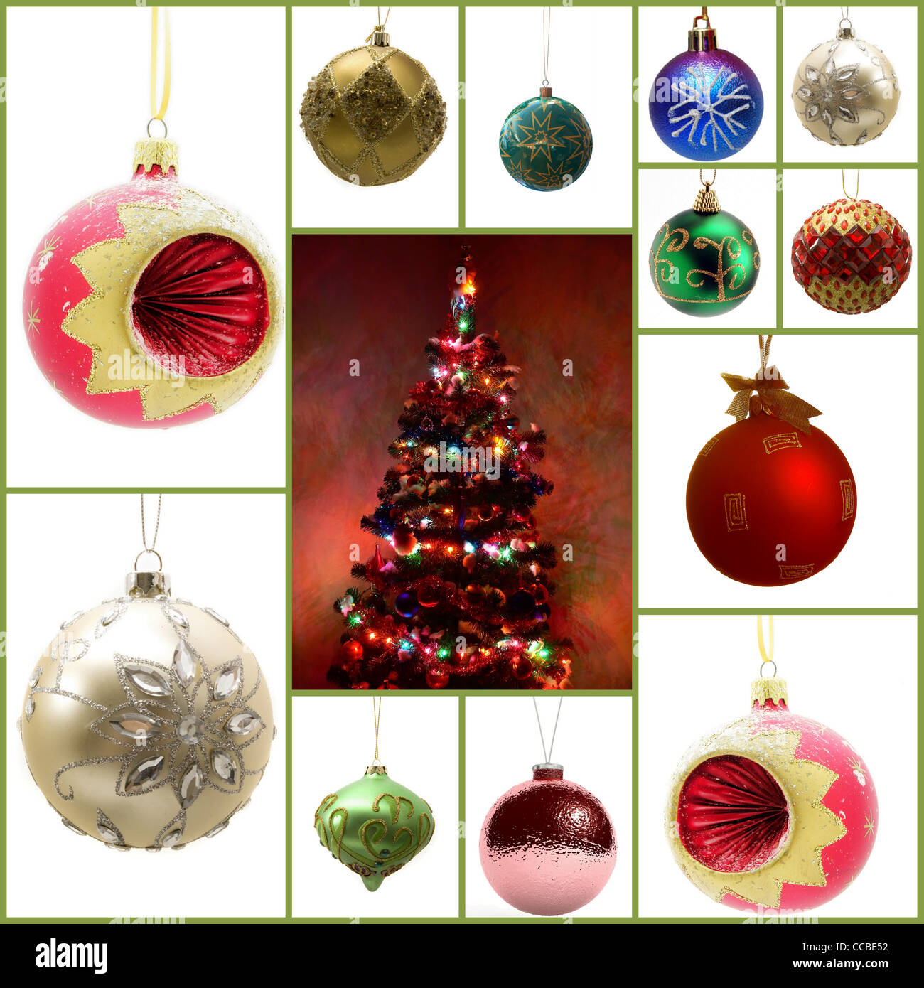 Set of 12 Christmas balls Ornaments Photos And Images - Stock Image