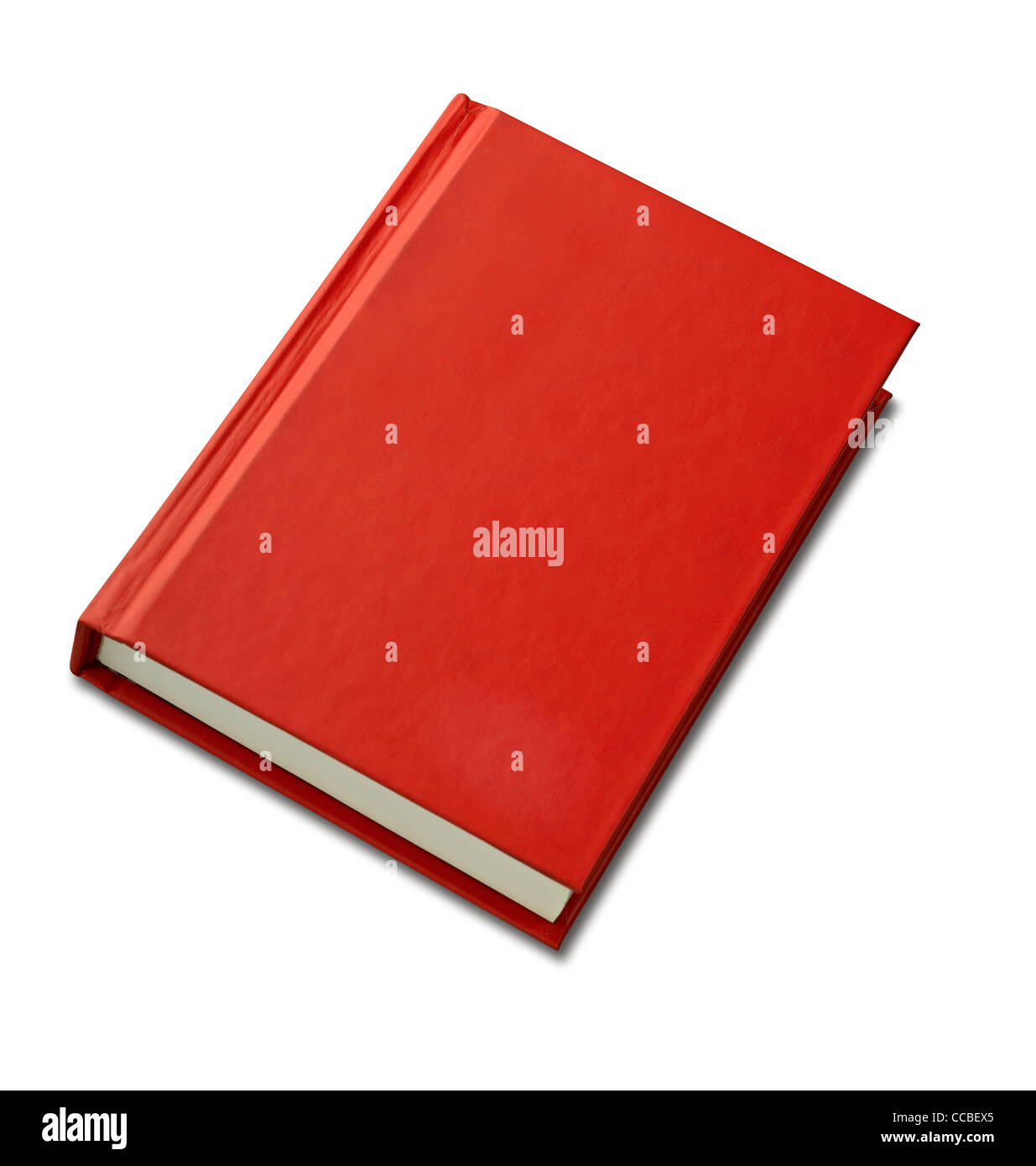 Blank red hardback book cover ready for text or graphic isolated on white - Stock Image