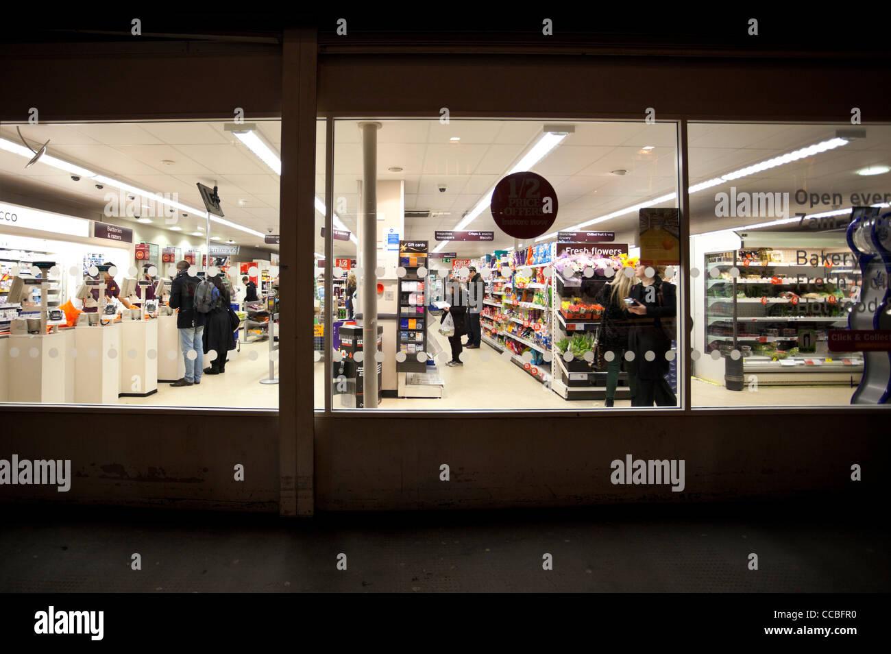 Supermarket window, London, England, UK - Stock Image
