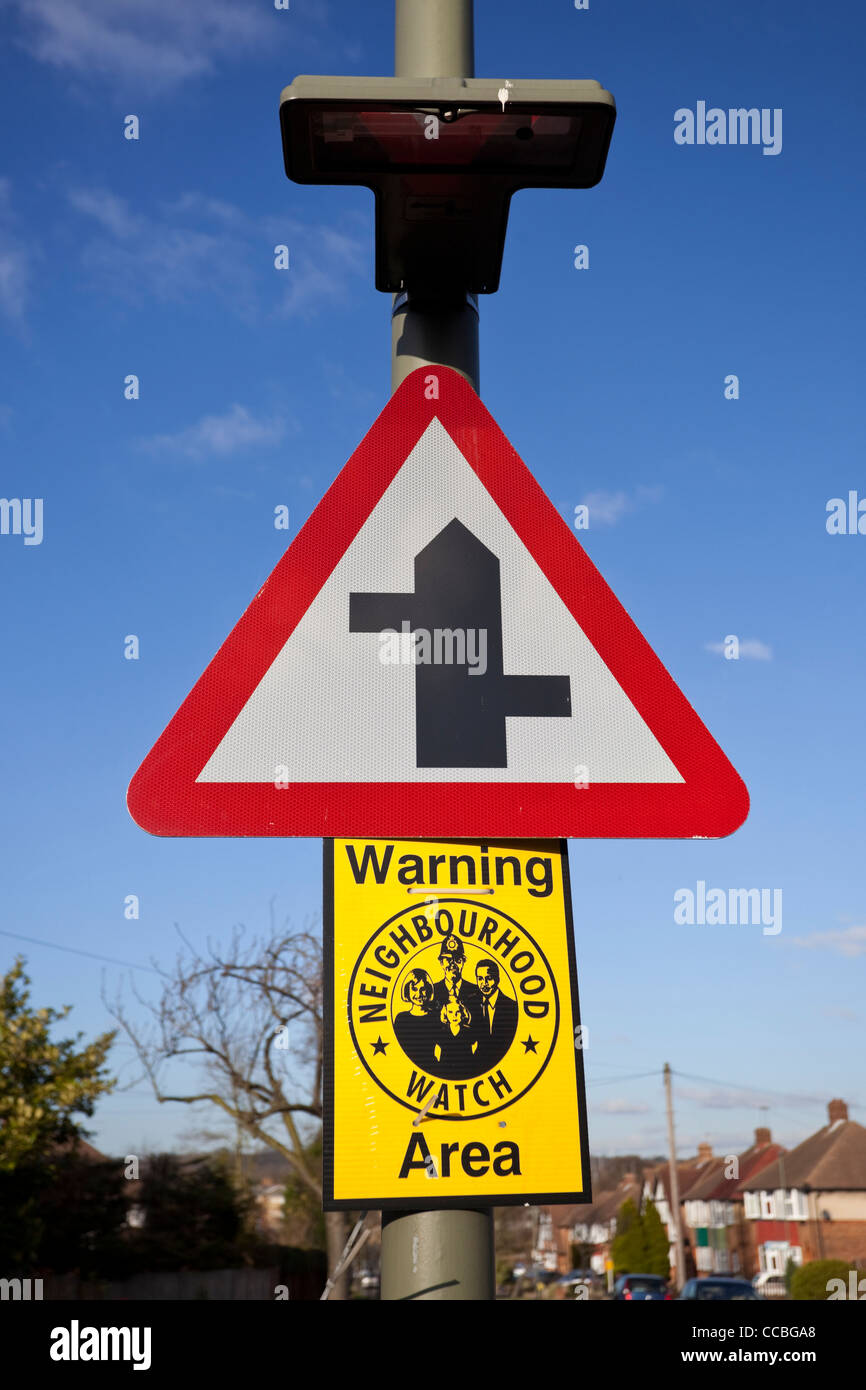 Staggered junction upright traffic sign, England, UK - Stock Image
