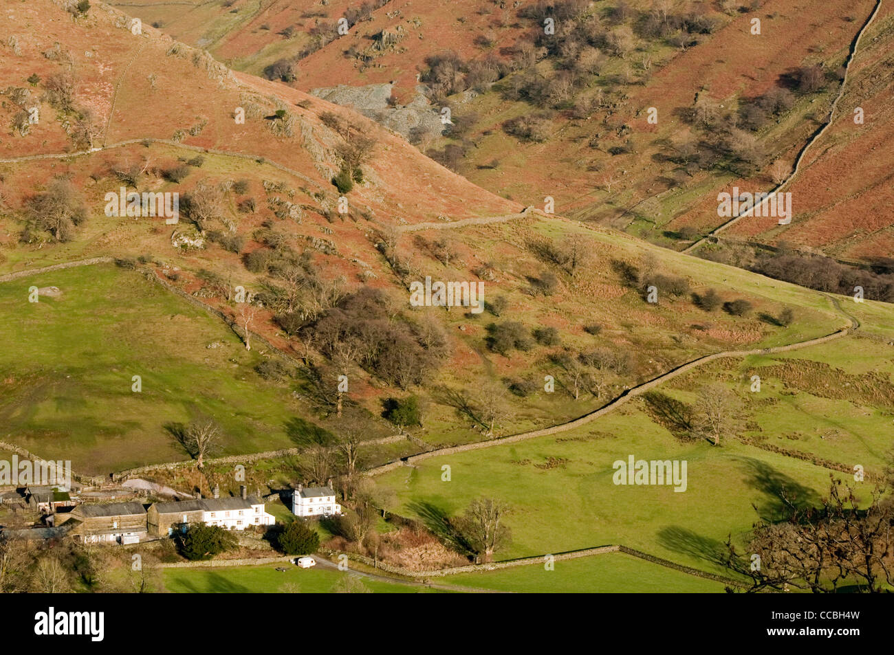 Upper Troutbeck Valley landscape in the Lake District National Park Cumbria - Stock Image