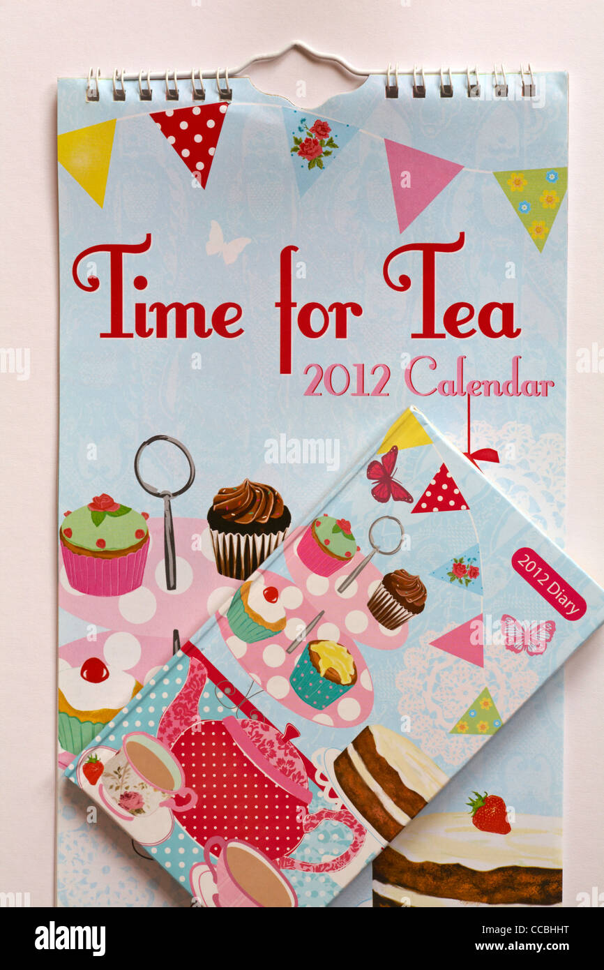 Time for Tea 2012 Calendar and diary set on plain background - Stock Image