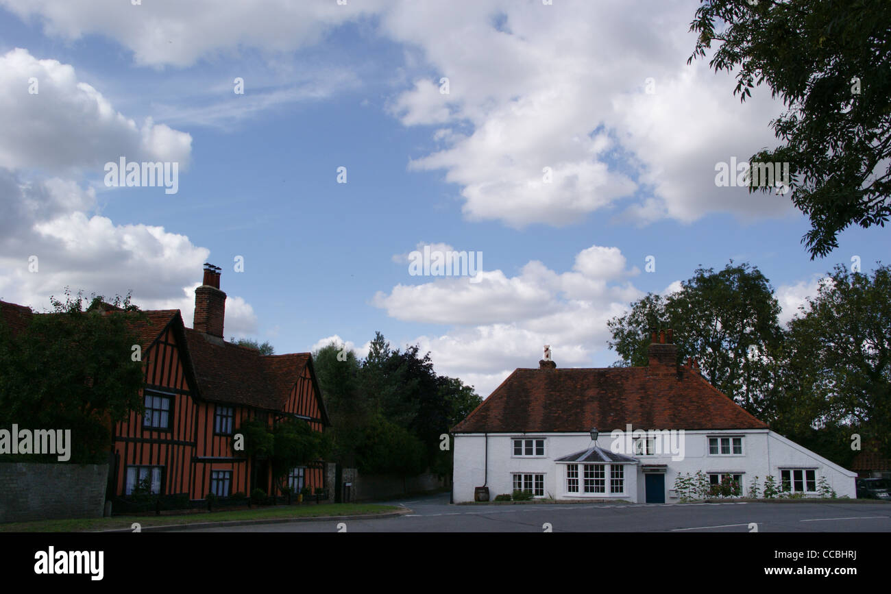 Half-timbered houses, Stratford St. Mary,  Suffolk, England - Stock Image