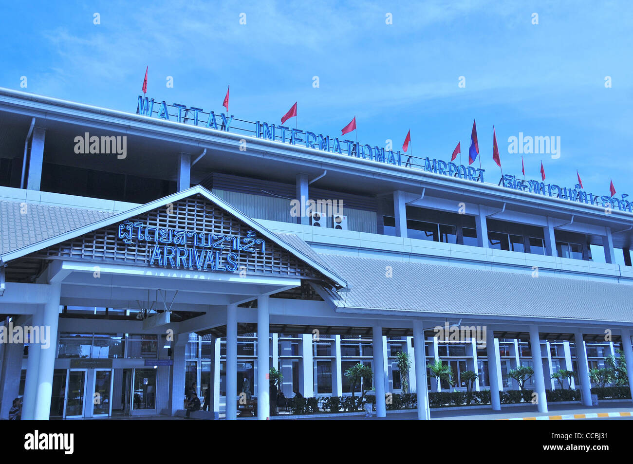 Wattay international airport arrivals Vientiane Laos - Stock Image