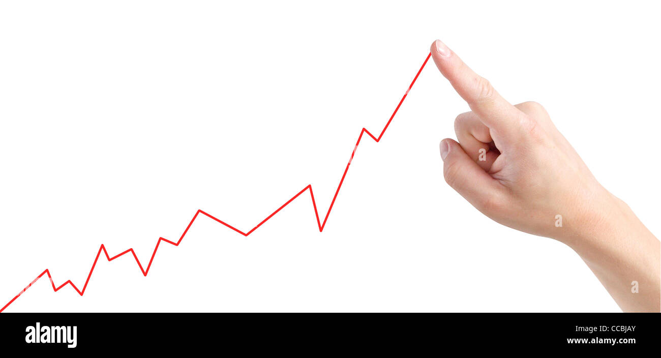 Showing increasing graph - Stock Image