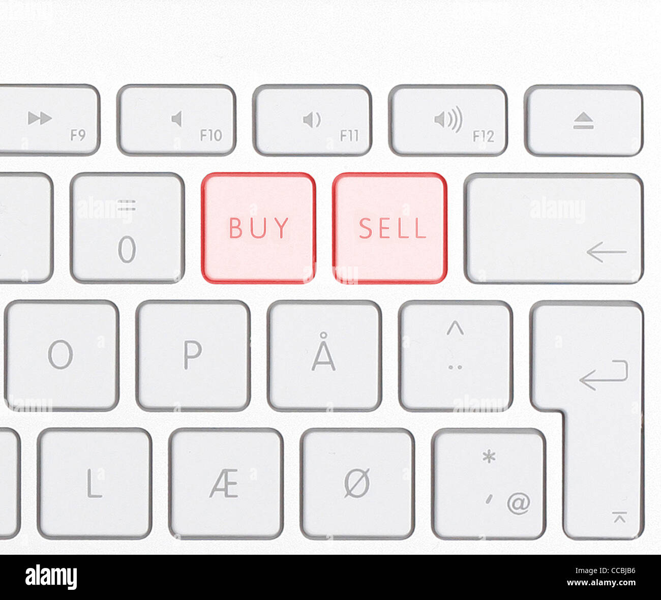 Keyboard showing buy sell buttons - Stock Image