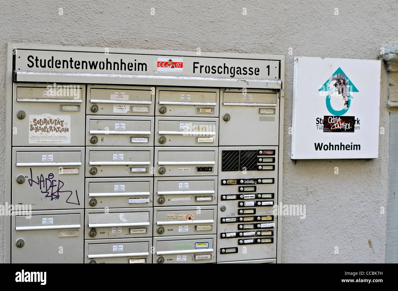 Mailboxes at student accommodation in Tuebingen, Briefkästen an Studentenwohnheim Tübingen - Stock Image