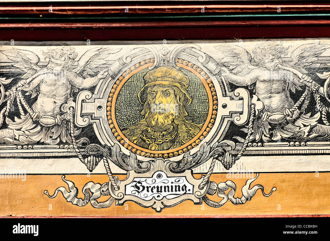 Painted portrait of Konrad Breuning on facade of the town hall of Tuebingen, 'Portraet Fassade Tuebinger Rathaus' - Stock Image