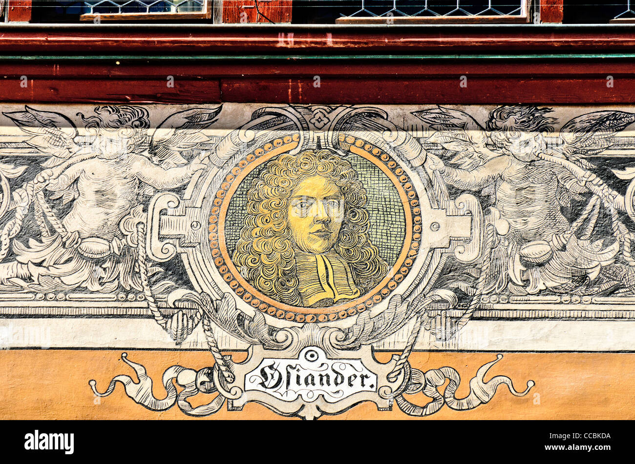 Painted Image of Johann Osiander on facade of the town hall of Tuebingen, 'Portraet Fassade Tuebinger Rathaus' - Stock Image