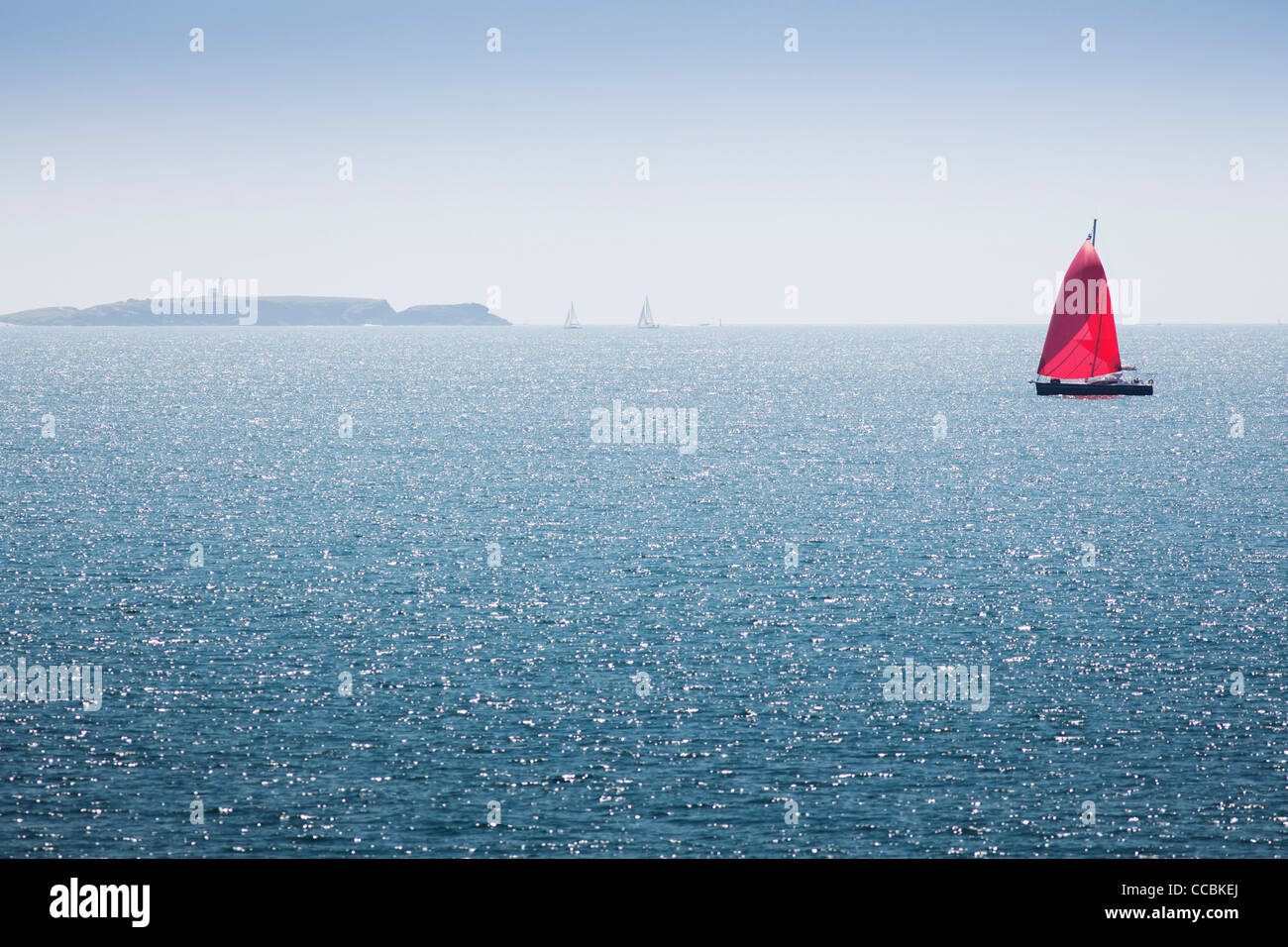 Sailboat off the coast of Belle-Ile-en-Mer, Morbihan, Brittany, France - Stock Image