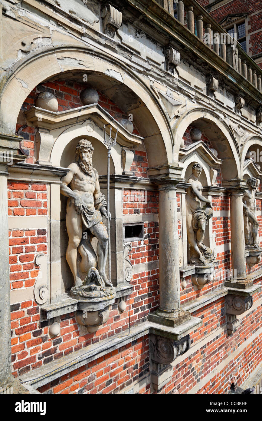 Mythological figures in the arcade wall around the entrance to The Frederiksborg Castle in Hillerød close to Copenhagen, Stock Photo