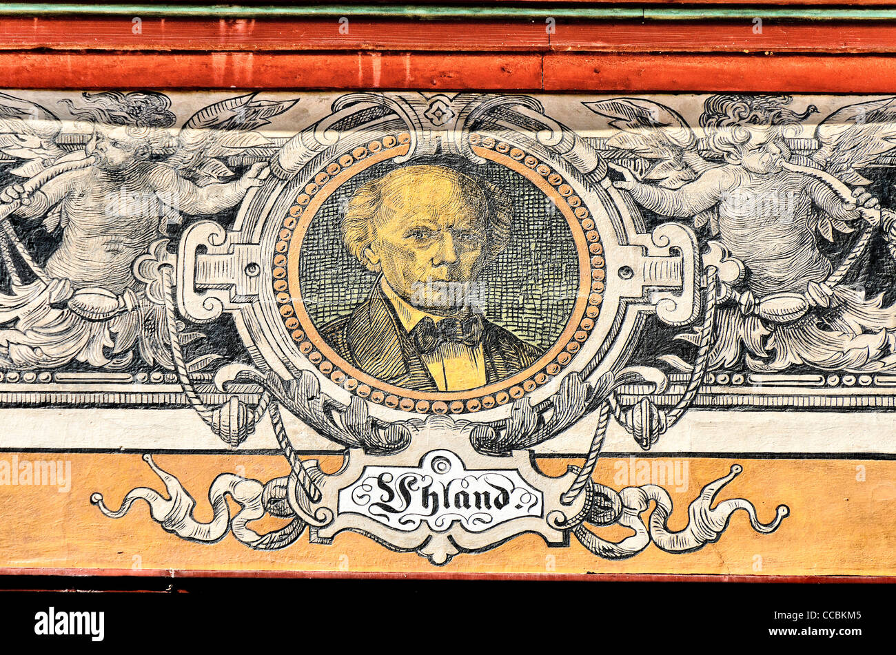 Painted portrait of Ludwig Uhland on facade of the town hall of Tübingen, 'Portraet Fassade Tuebinger Rathaus' - Stock Image