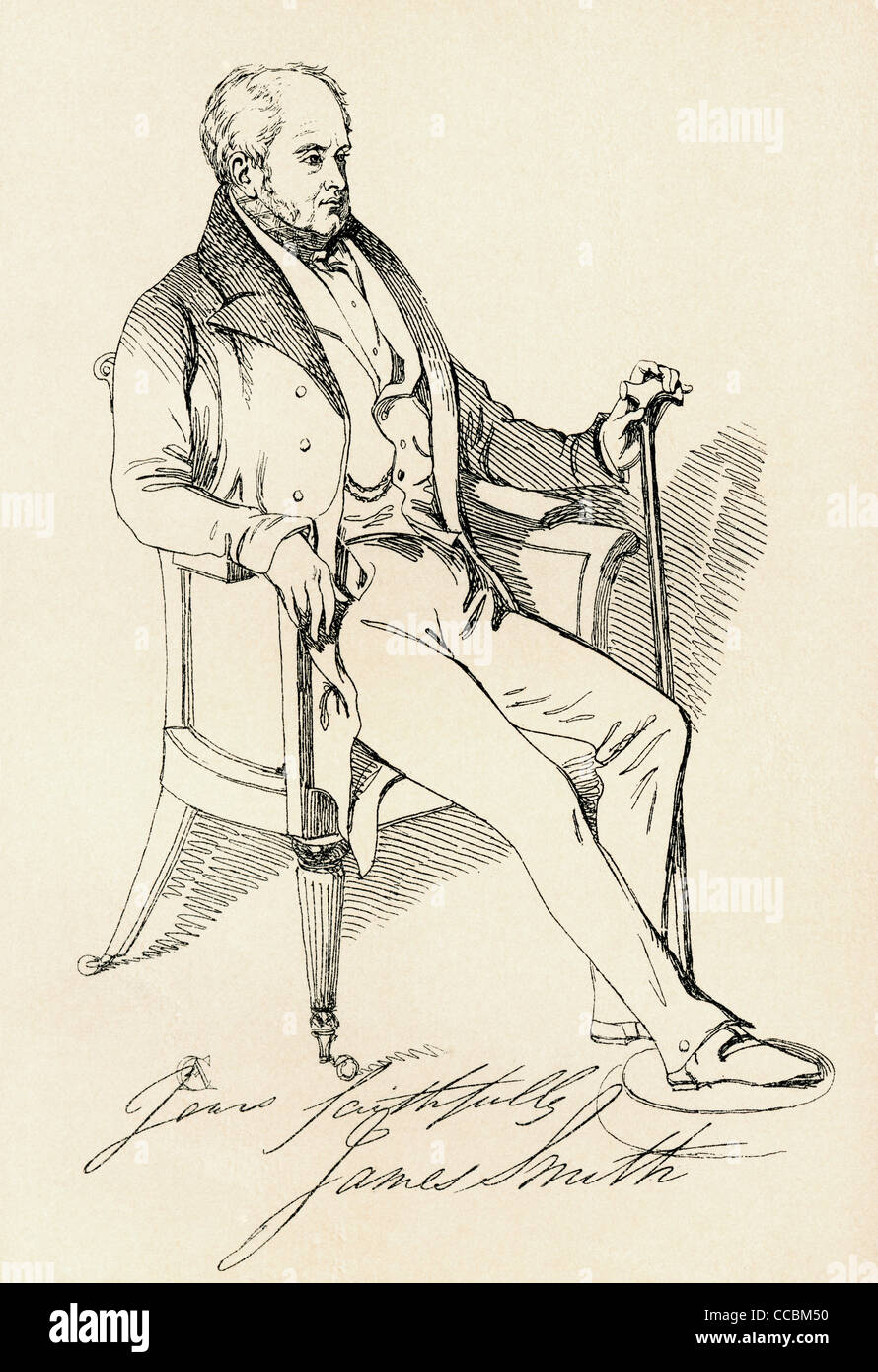 James Smith, 1775 - 1839. English author. From The Maclise Portrait Gallery, published 1898. - Stock Image