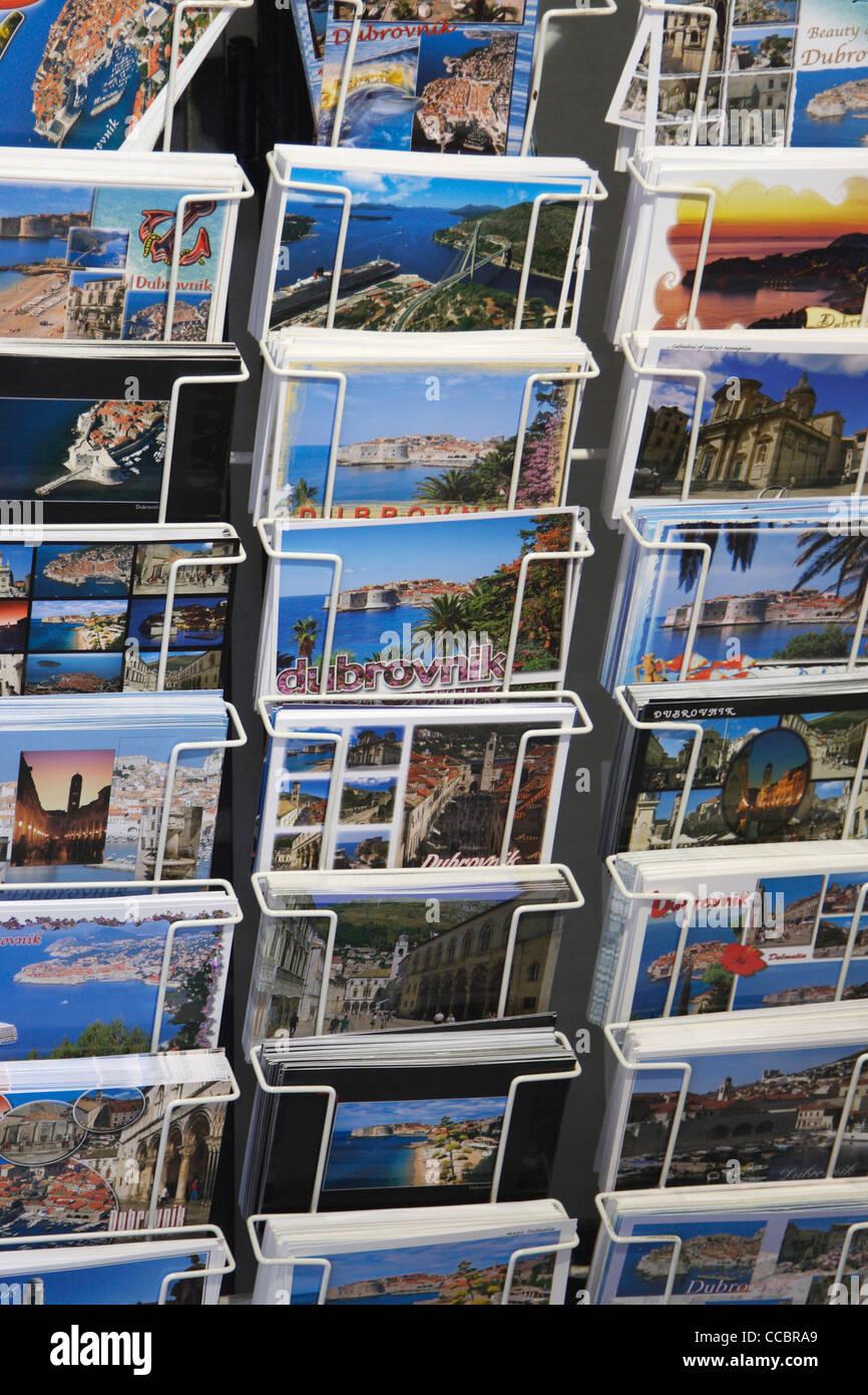 Close up of postcards in tourist shop in Dubrovnik, Croatia. - Stock Image