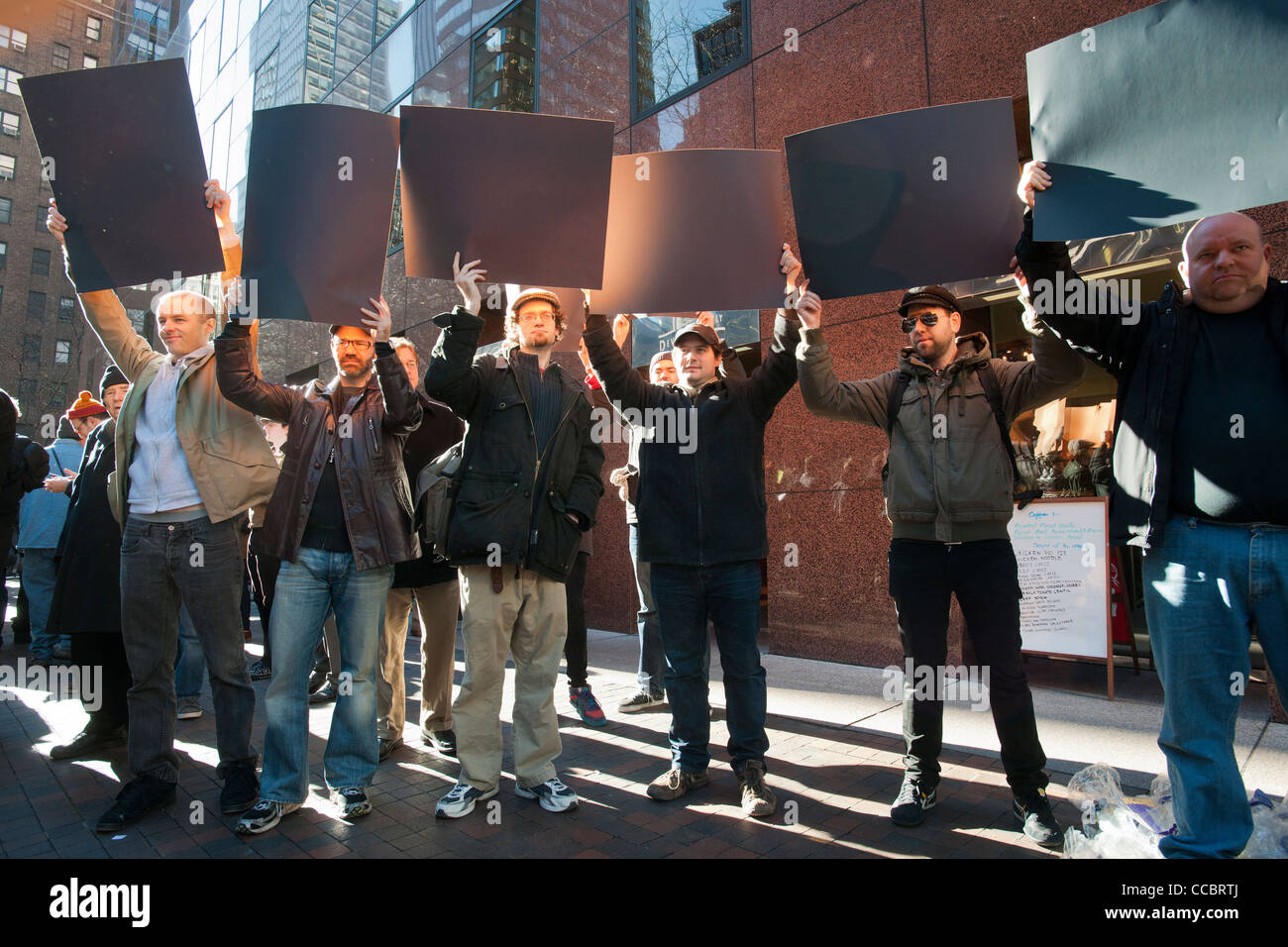 NY Tech Meetup group protest in New York over legislation concerning online piracy. - Stock Image