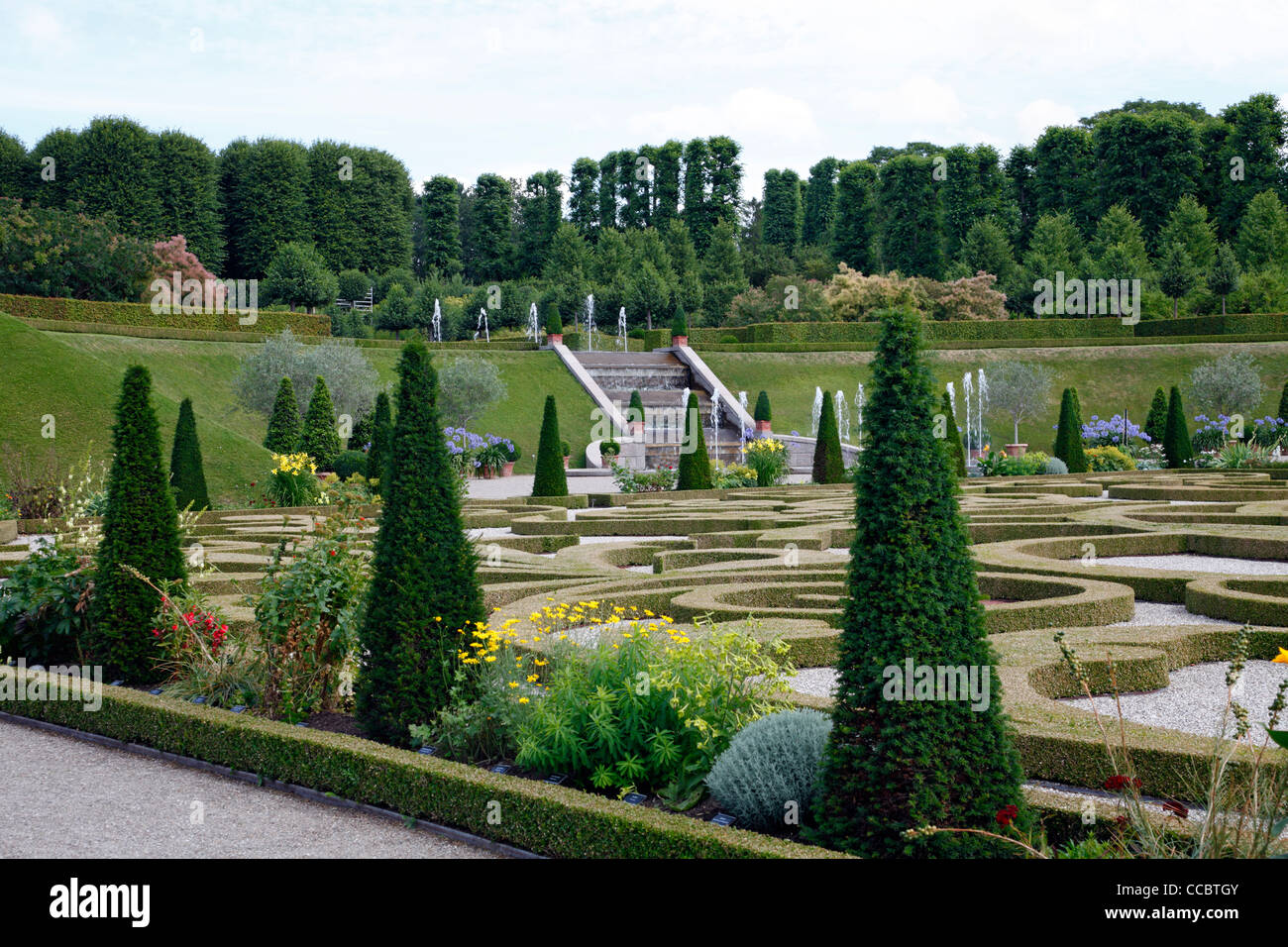 The Baroque Garden at the Frederiksborg Castle in Hillerød, Denmark Stock Photo
