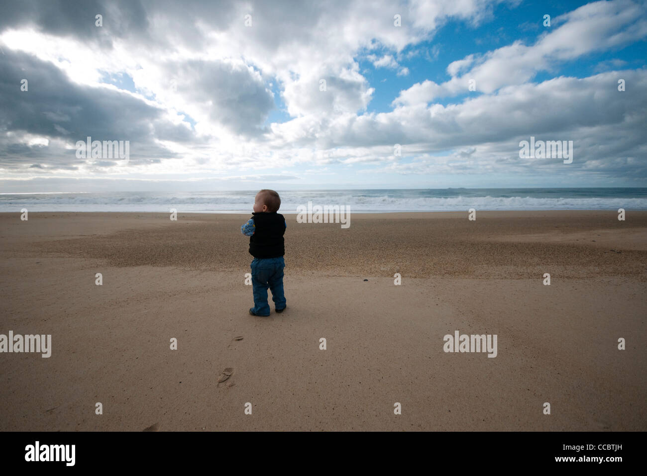Toddler walking on beach, rear view - Stock Image