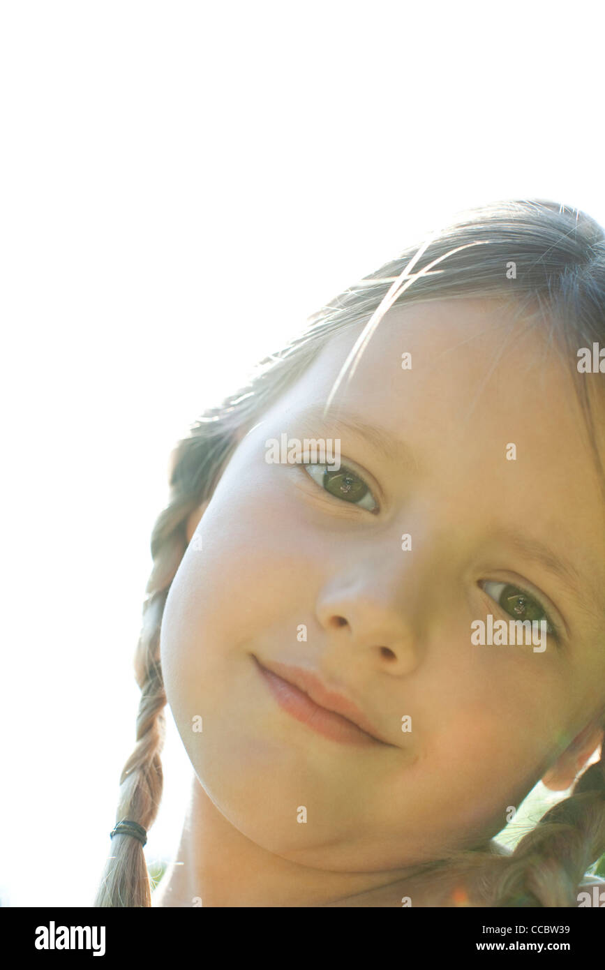 Girl smiling, portrait - Stock Image