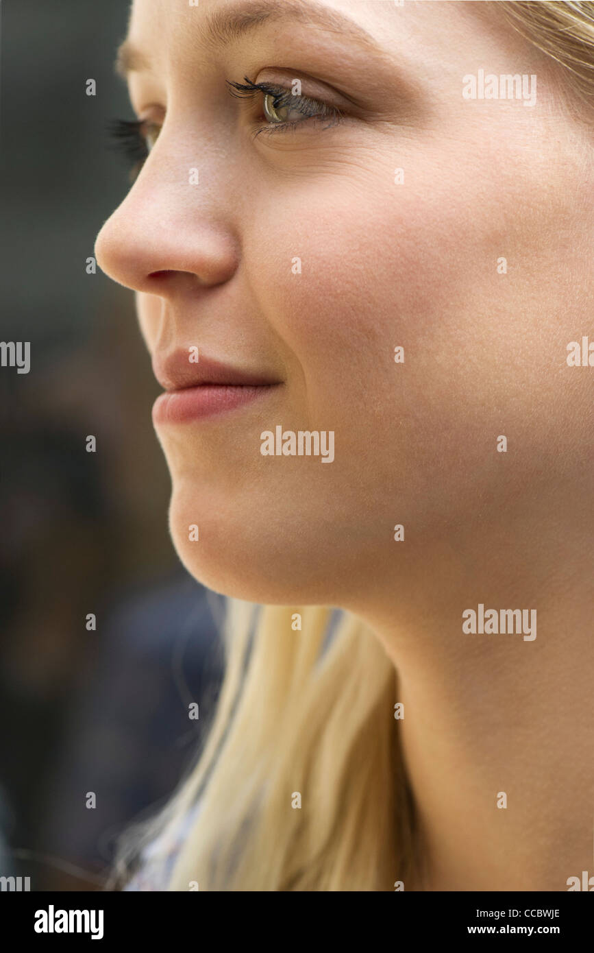 Young woman in profile, portrait - Stock Image