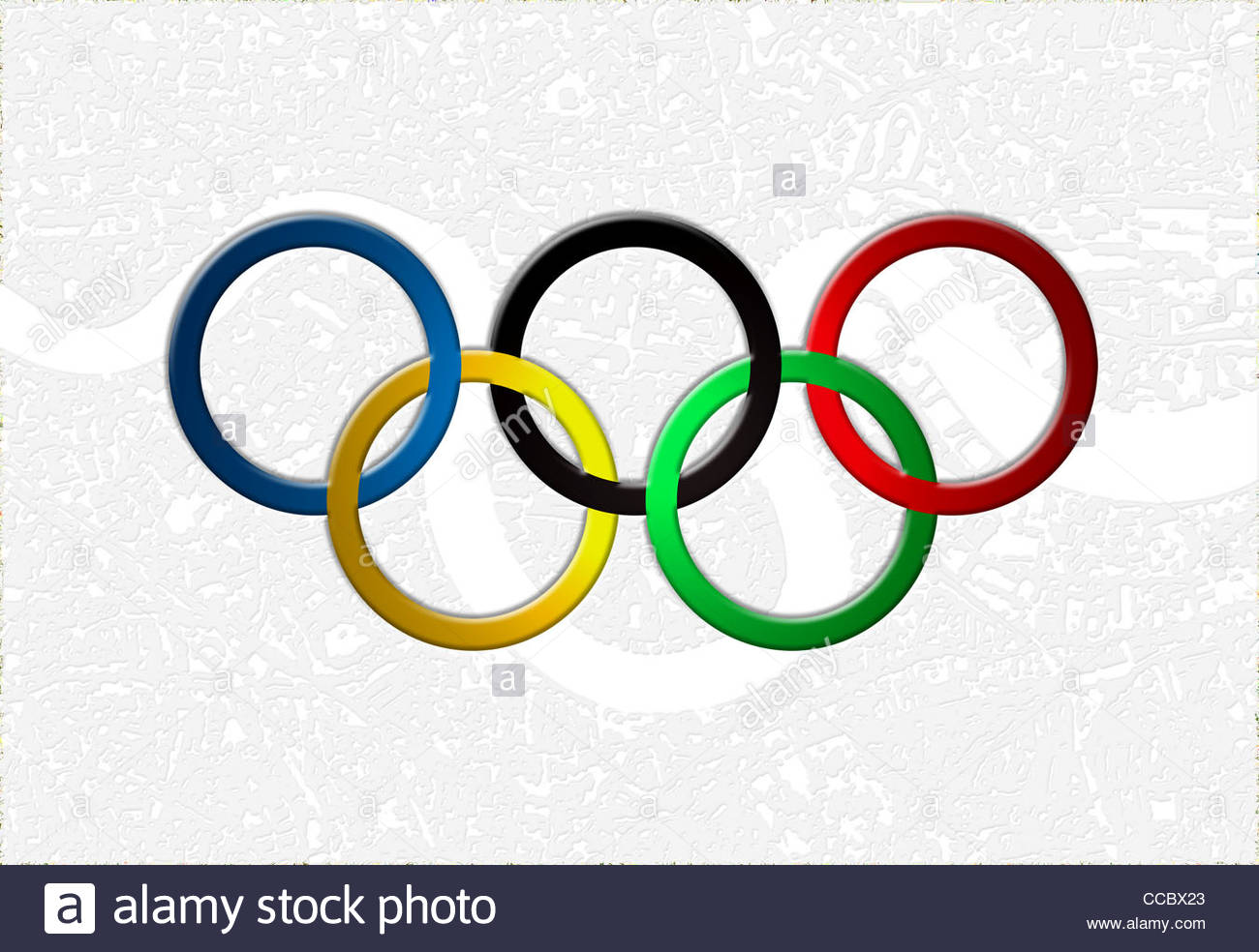 2012 olympic games, olympic rings featured on a map on london - Stock Image