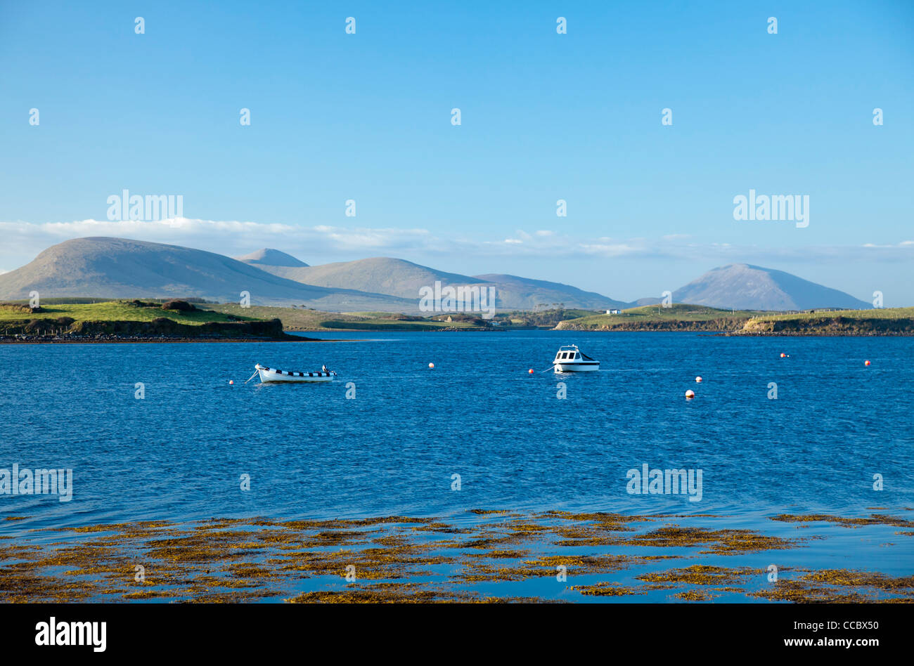 View across Clew Bay to Croagh Patrick, County Mayo, Ireland. - Stock Image