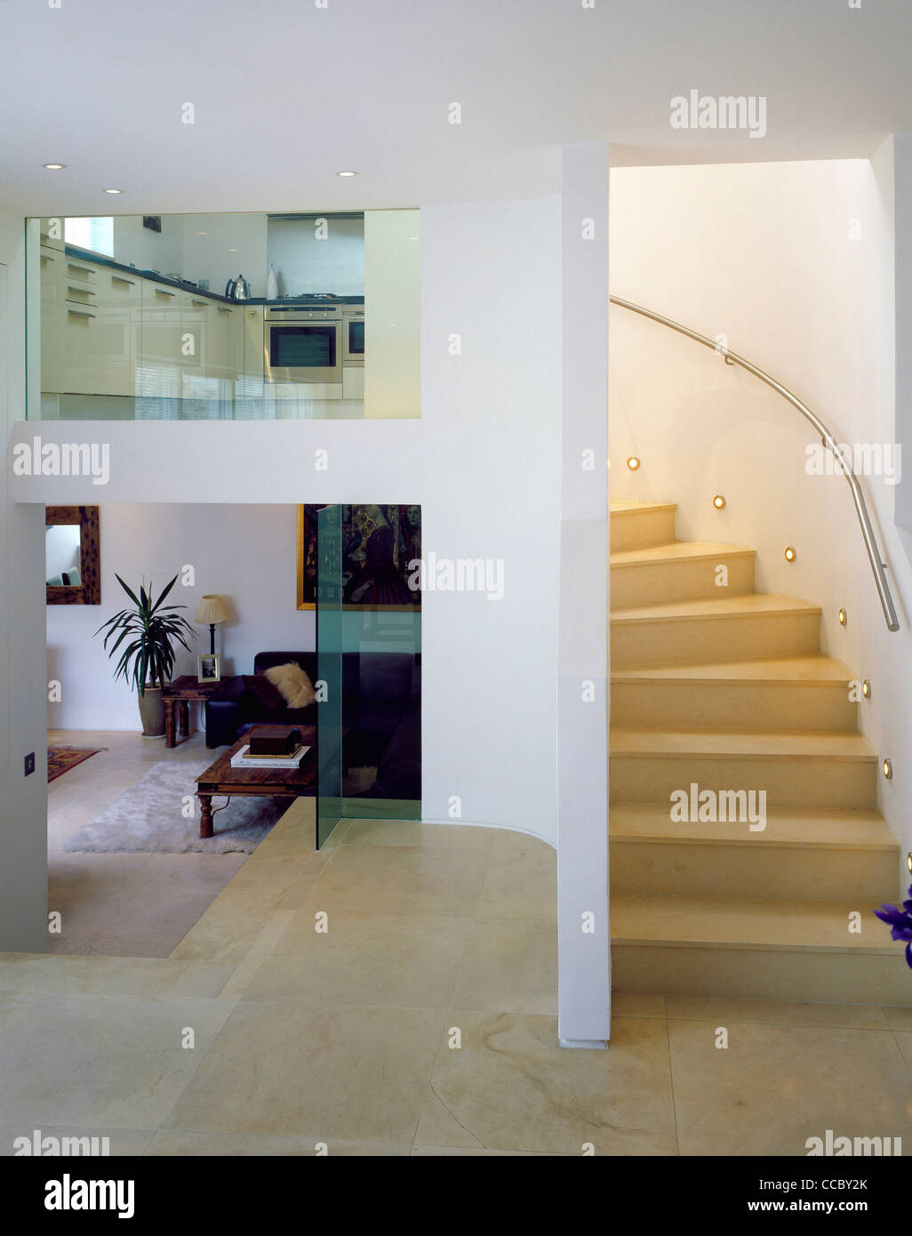 PRIVATE HOUSE HALLWAY STAIRS - Stock Image
