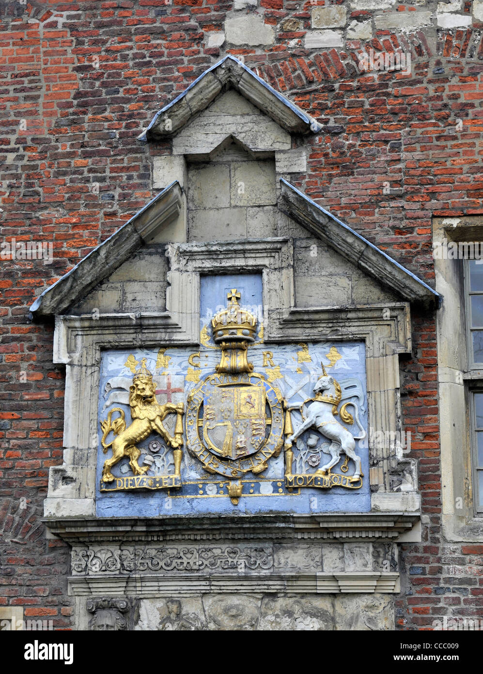 Coat of Arms of Charles I over the Door of The King's Manor York - Stock Image