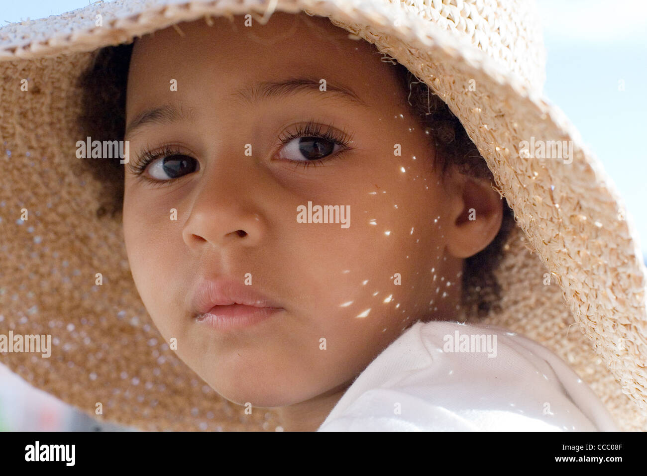 633cfd428c87a Little Girl With Hat Close View Stock Photos   Little Girl With Hat ...