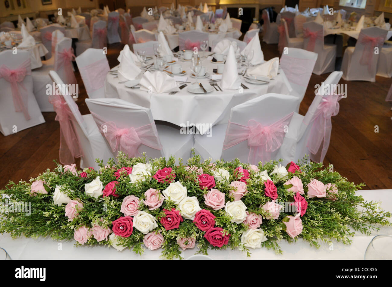 Pink Cream And Green Artificial Wedding Flower Display On