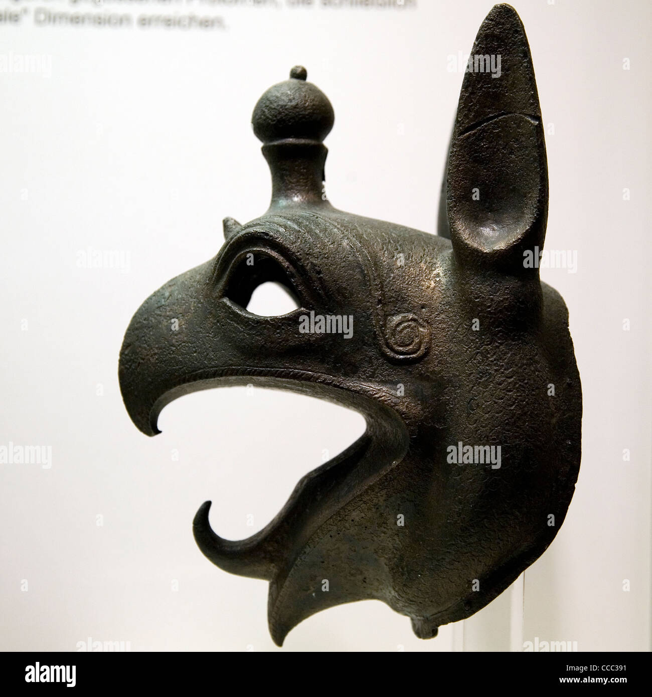 Bronze griffin protomes from the rims of the large tripod cauldrons of the 7th cent. B.C. Olympia, Peloponnese, - Stock Image