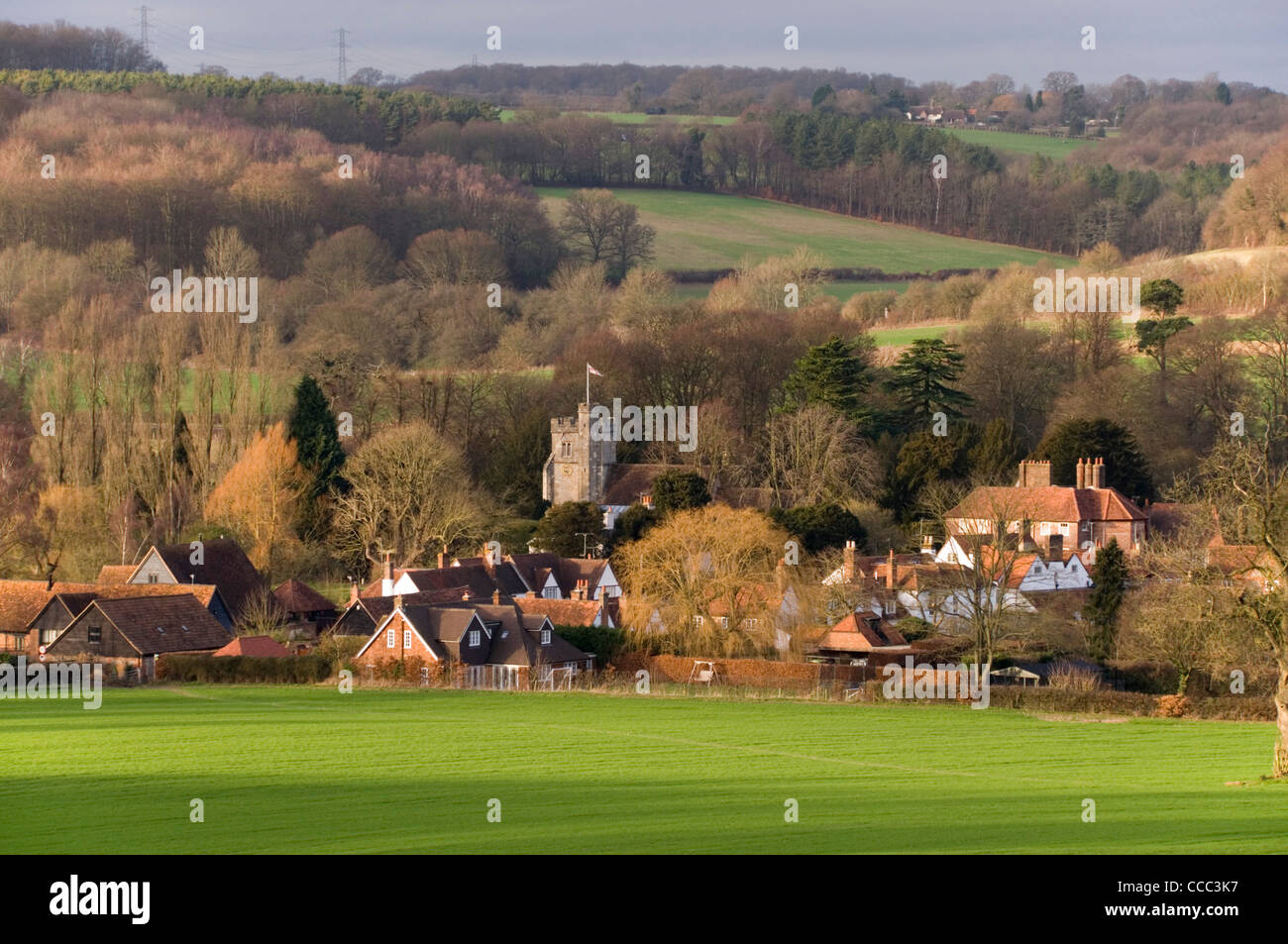 Chiltern Hills - Little Missenden - Buckinghamshire - seen across fields - winter sunlight - late afternoon - Stock Image