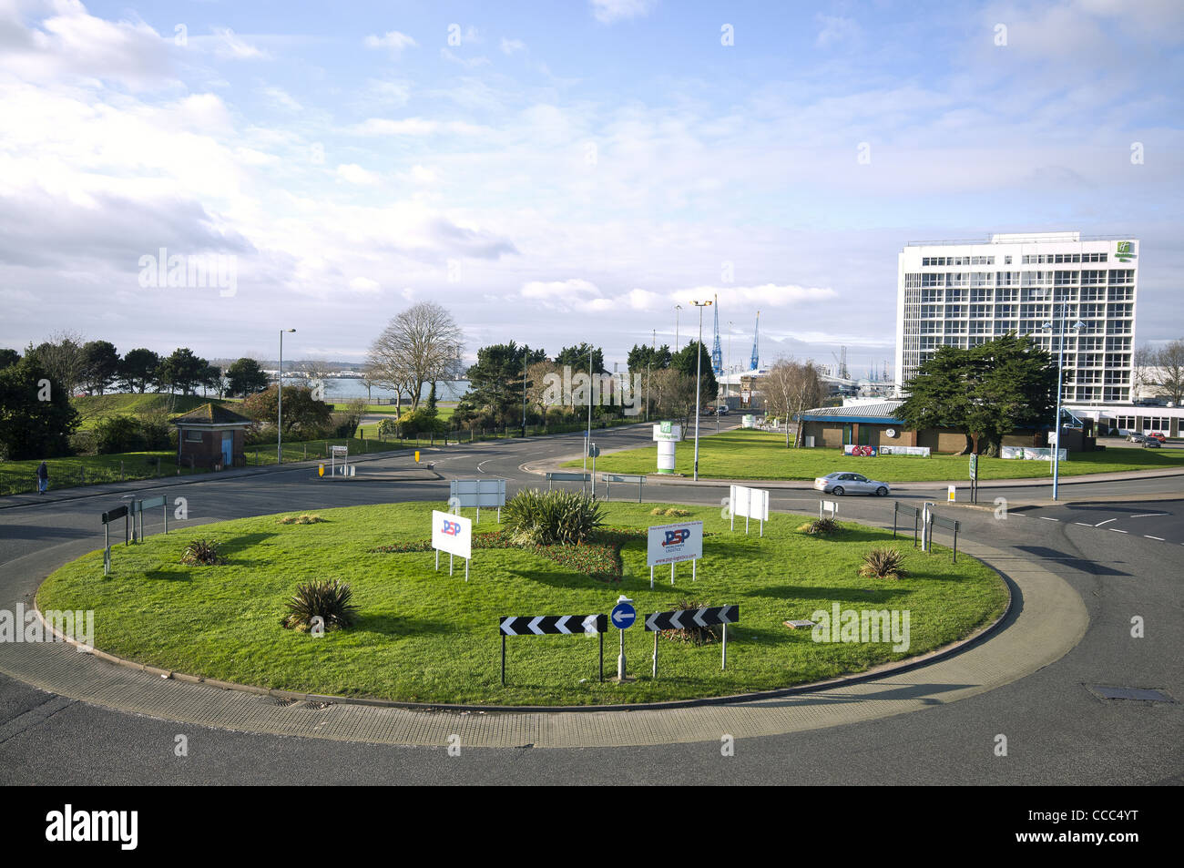 The view towards Dock Gate 8 with Mayflower Park on the left and the Holiday Inn on the right in Southampton, Hampshire, - Stock Image