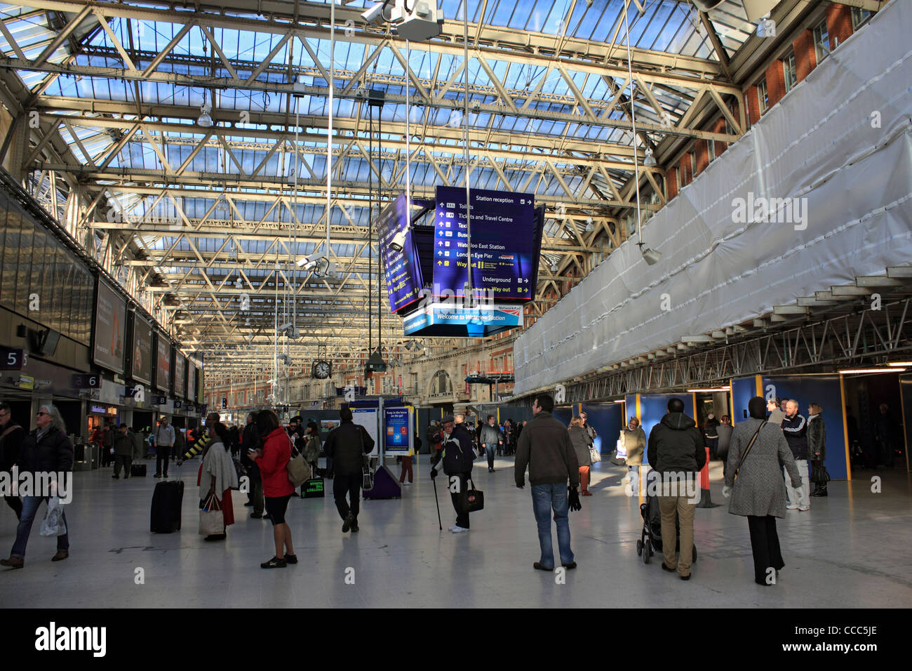 Waterloo station, railway terminus for south west trains. London England UK - Stock Image