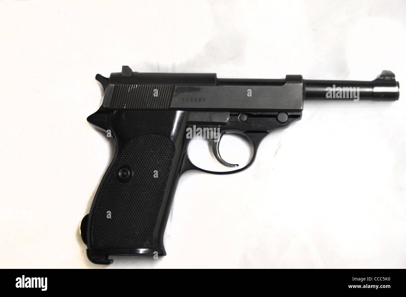 Walther 9mm P4 issued to police and border guards - Stock Image