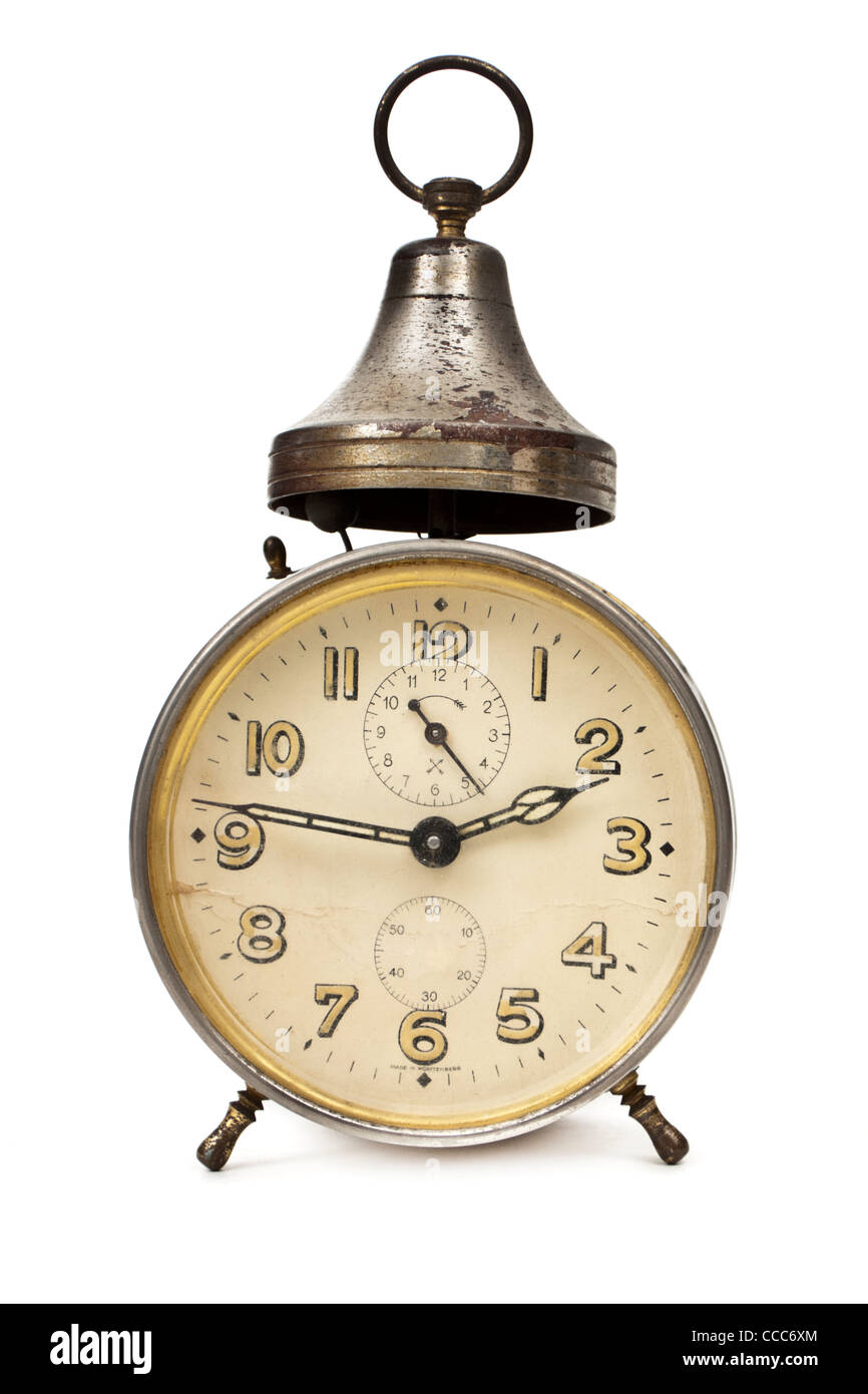 Antique bedside alarm clock, made in Wurttemberg, Germany Stock Photo