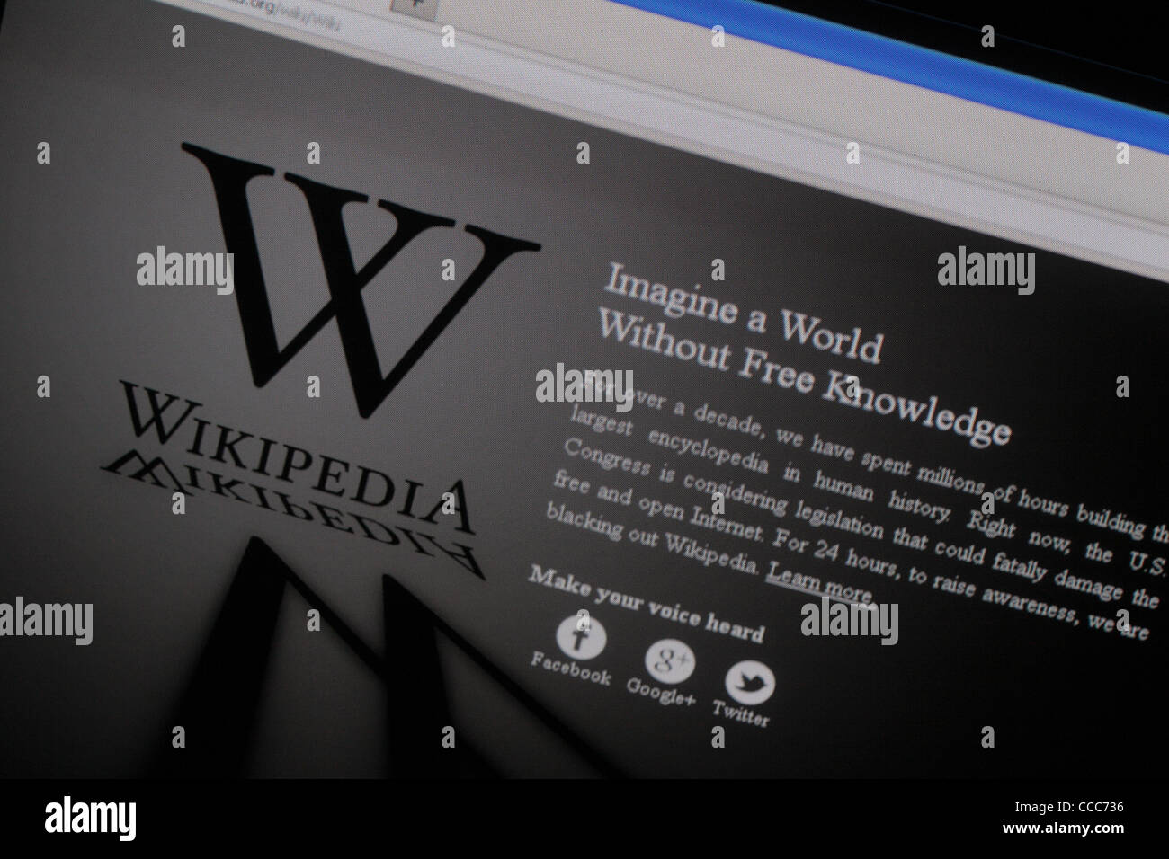 Screenshot: Wikipedia (English) web site closed for 24 hours on 18th January 2012 in a protest over Internet censorship. - Stock Image