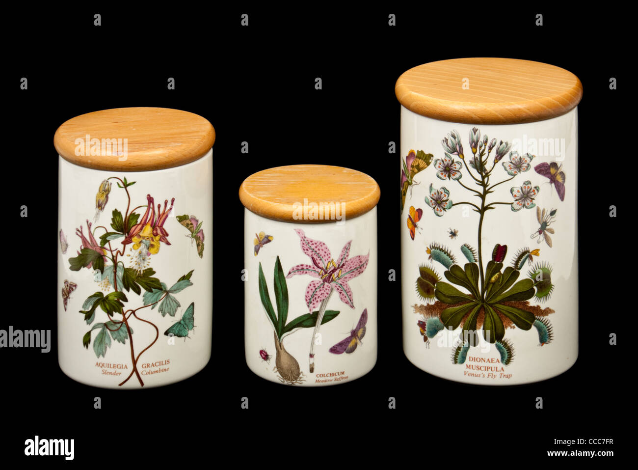 Set of three Portmeirion Botanic Garden ceramic lidded storage