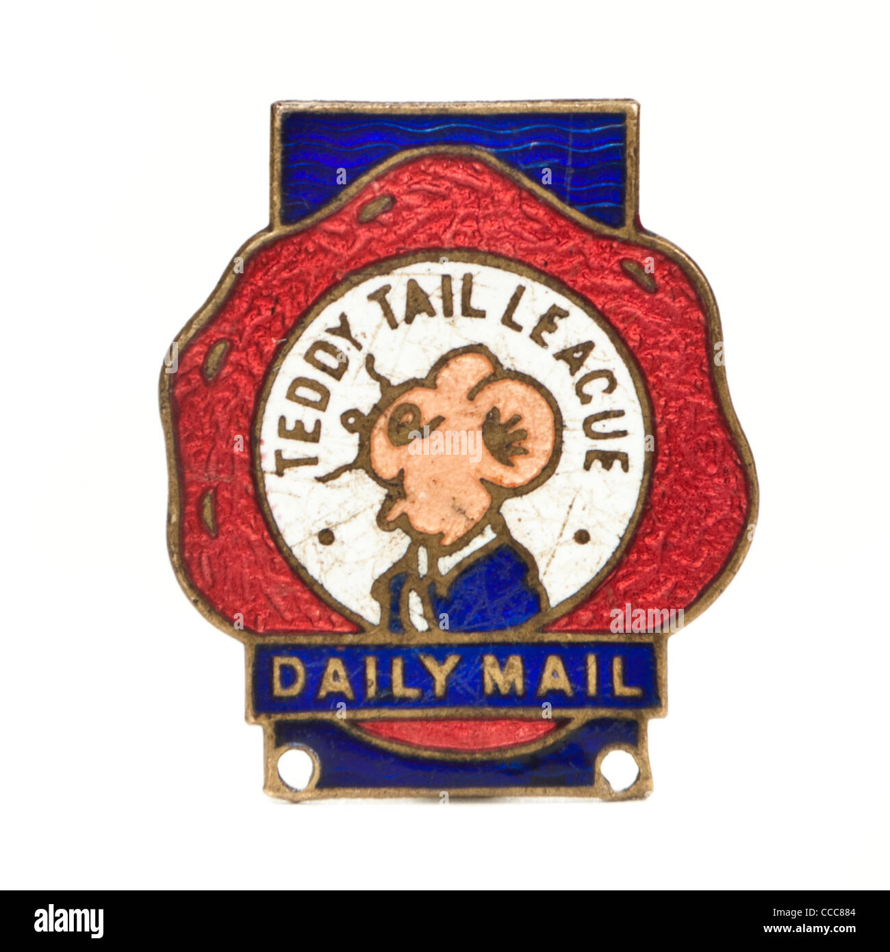 """1930's Daily Mail promotional """"Teddy Tail League"""" enamel badge by J. Gaunt of London Stock Photo"""