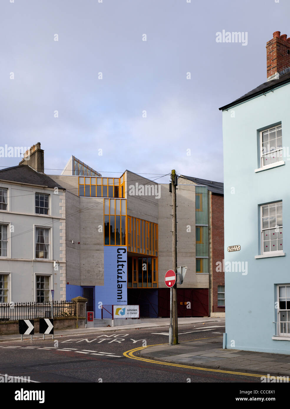 exterior great st james street view cultúrlann uí chanáin irish language and cultural centre odonnell - Stock Image