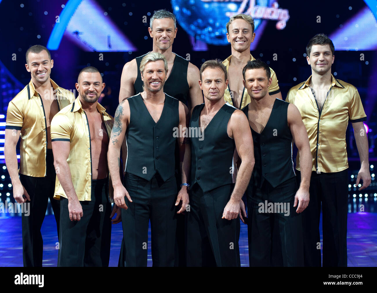 All the boys at the Strictly Come Dancing photo shoot at the national indoor arena in Birmingham. 19th Jan 2012 - Stock Image