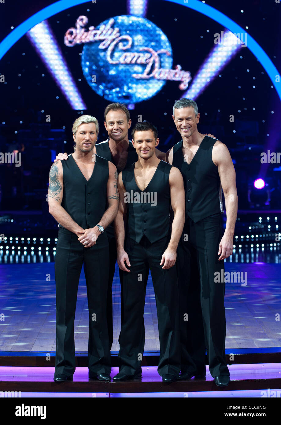 Robbie Savage, Jason Donavon, Harry Judd and Mark Foster at the Strictly Come Dancing photo shoot at the national - Stock Image